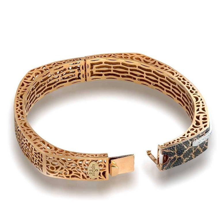 Diamond Rose Gold Hand-Textured Hinged Bracelet One of a Kind For Sale 2