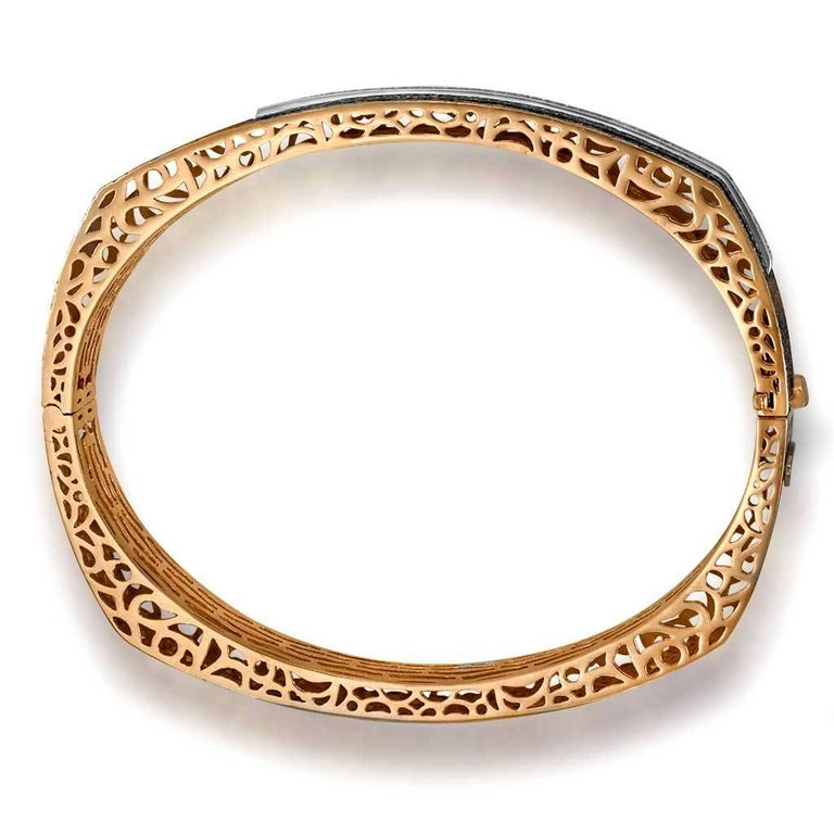 Diamond Rose Gold Hand-Textured Hinged Bracelet One of a Kind For Sale 3