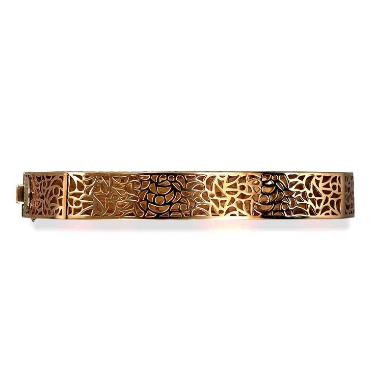 Diamond Rose Gold Hand-Textured Hinged Bracelet One of a Kind For Sale 4