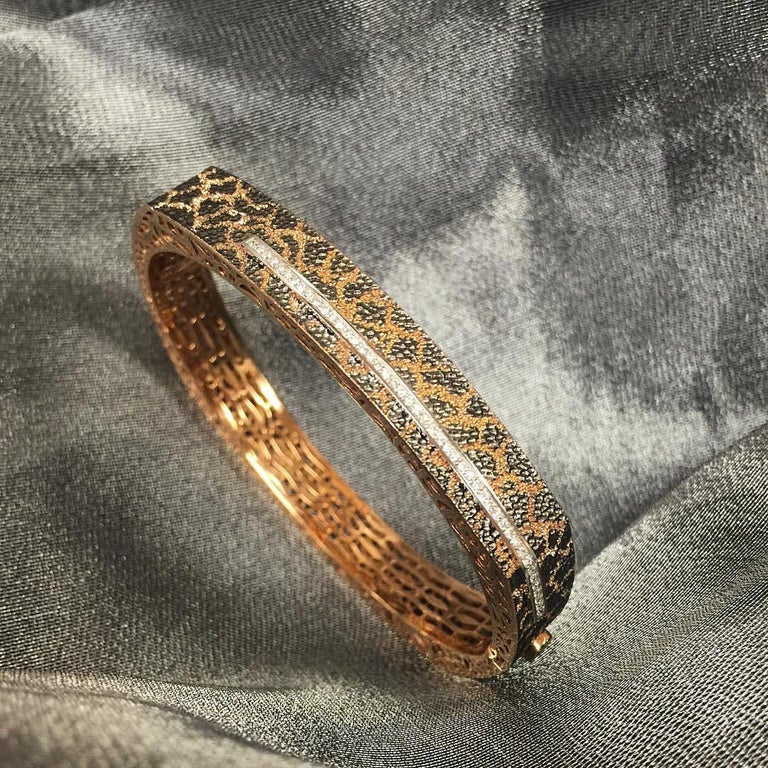 Diamond Rose Gold Hand-Textured Hinged Bracelet One of a Kind For Sale 6