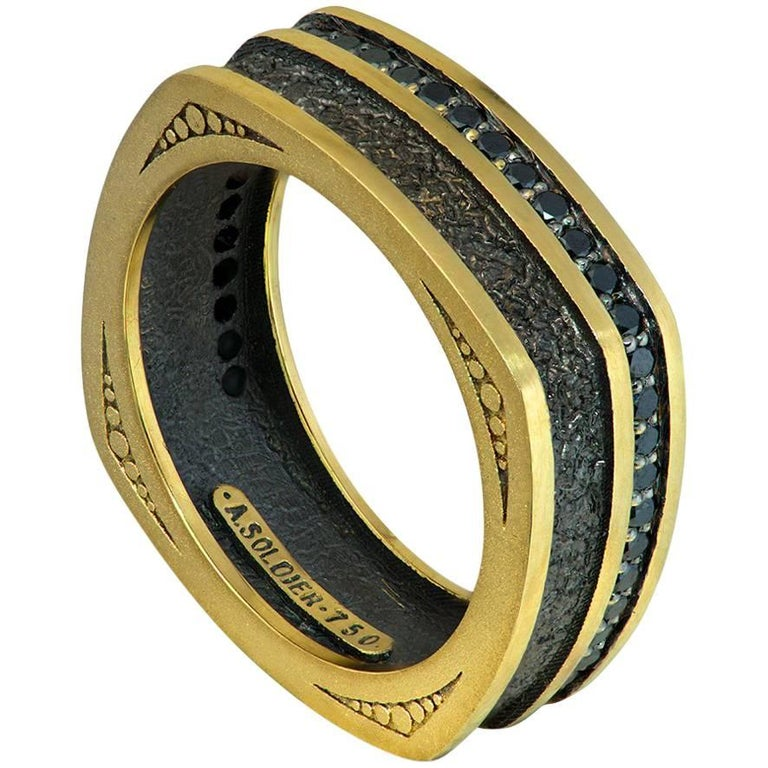 Diamond Gold Textured Ring Band One of a Kind
