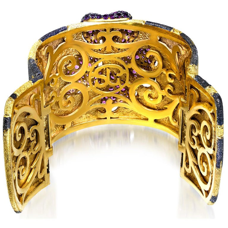 Garnet Sterling Silver Gold Platinum Hinged Cuff Bracelet In New Condition For Sale In New York, NY