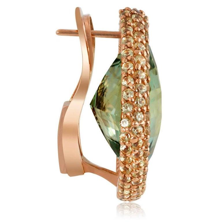 Cushion Cut Alex Soldier Green Amethyst Peridot Gold Earrings Cufflinks One of a Kind For Sale
