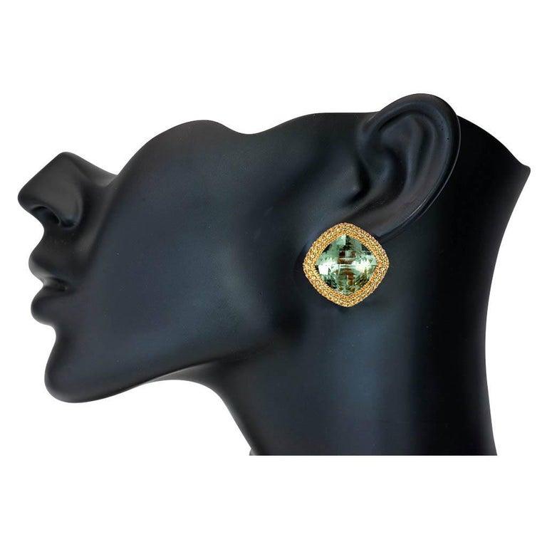 Women's or Men's Alex Soldier Green Amethyst Peridot Gold Earrings Cufflinks One of a Kind For Sale