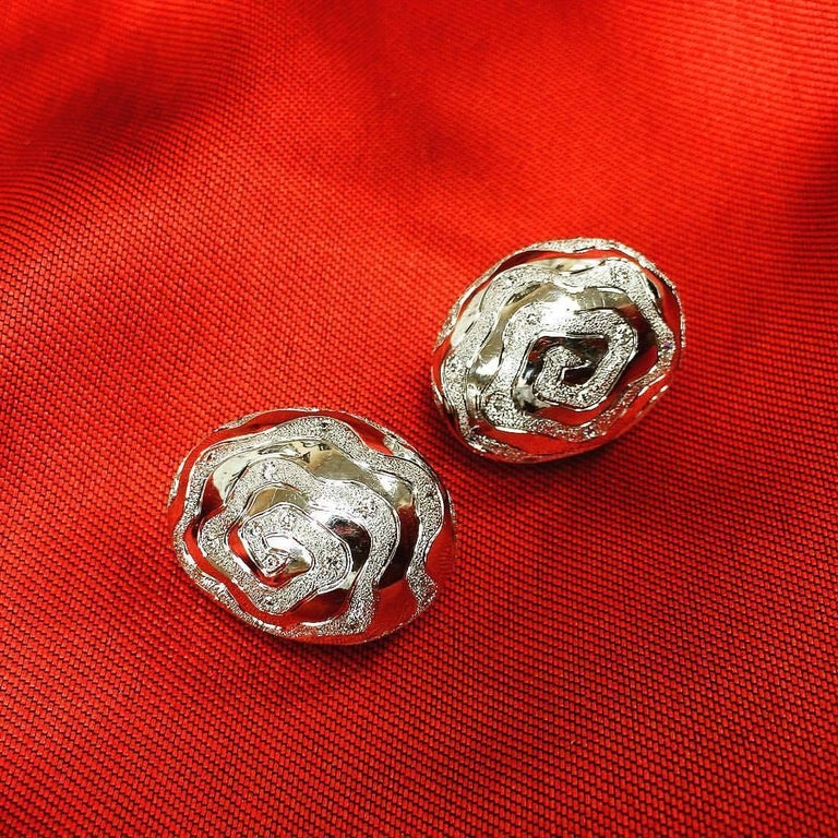 Round Cut Diamond 18K White Gold Textured Earrings Cufflinks One of a Kind For Sale