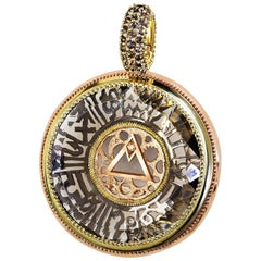 Smoky Quartz Diamond Gold Talisman Zodiac Pendant Necklace Enhancer