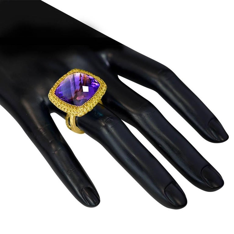 Women's or Men's Alex Soldier Amethyst Sapphire Gold Textured Cocktail Ring One of a Kind For Sale