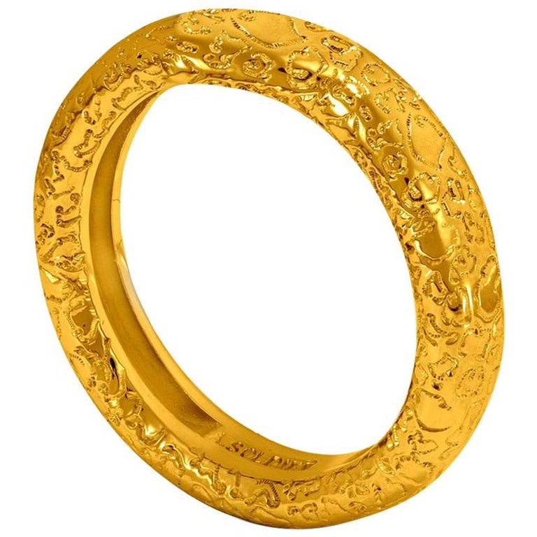 Alex Soldier Textured Gold Band that features signature proprietary metalwork that creates an effect of inner sparkle. Metal type: 18 karat yellow gold. Handmade in NYC. Ring size: 6.5. Complimentary ring sizing is available within 2 business days.