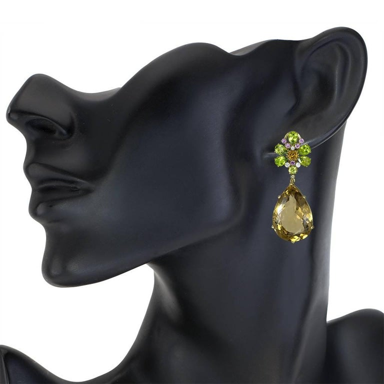 Women's Champagne Quartz Peridot Pink Sapphire Diamond Gold Drop Earrings One of a Kind For Sale