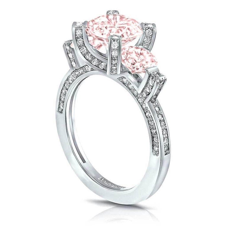 Alex Soldier Morganite Diamond Platinum Three-Stone Trinity Ring One of a Kind In New Condition For Sale In New York, NY