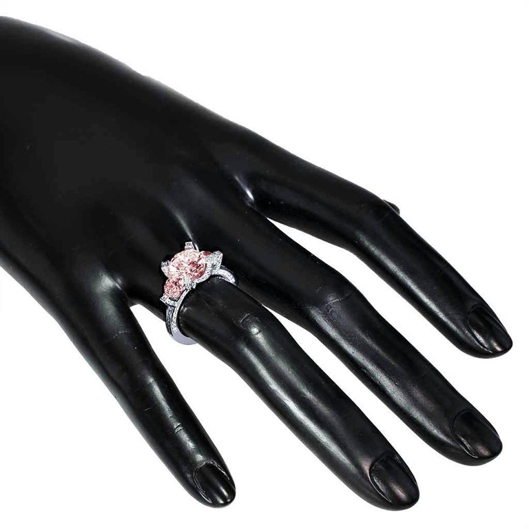 Alex Soldier Morganite Diamond Platinum Three-Stone Trinity Ring One of a Kind For Sale 1