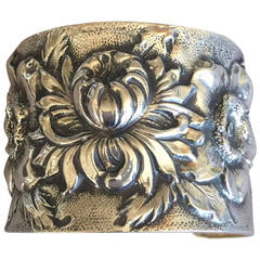 """Galmer Sterling Silver """"Repousse"""" Morning Bloom Cuff Bracelet"""