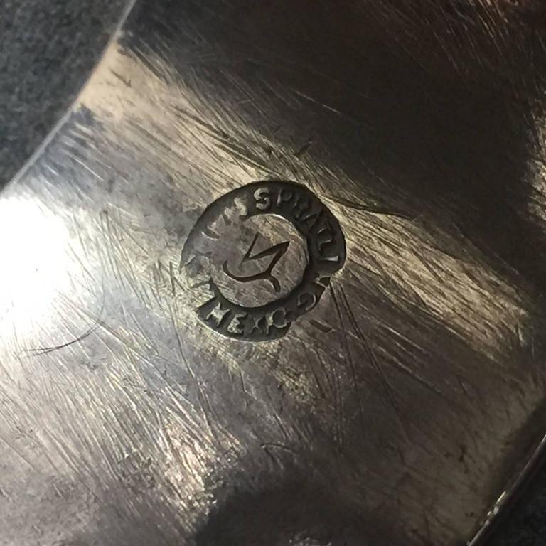 William Spratling Amethyst Sterling Silver Aztec Sun Cuff Bracelet In Good Condition For Sale In San Francisco, CA