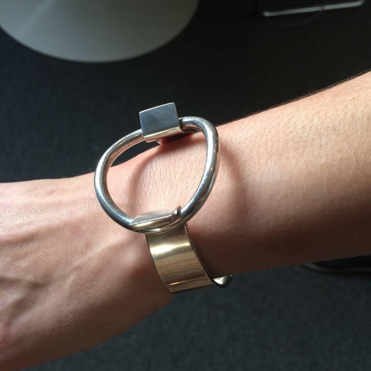 "Hans Hansen Modernist Cuff ""Ring"" Bracelet designed by Bent Gabrielsen 4"