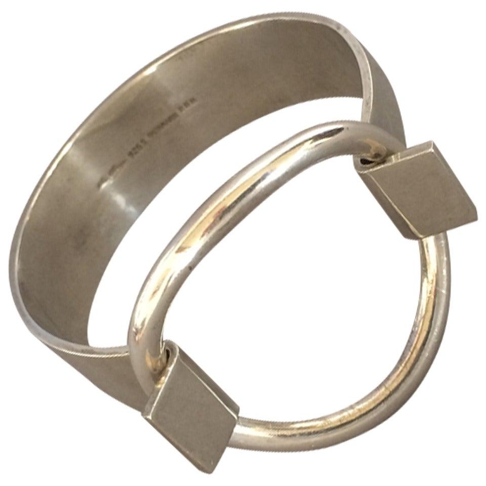 "Hans Hansen Modernist Cuff ""Ring"" Bracelet designed by Bent Gabrielsen 1"