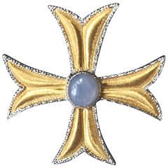 Buccellati Star Sapphire Gold Maltese Cross Brooch