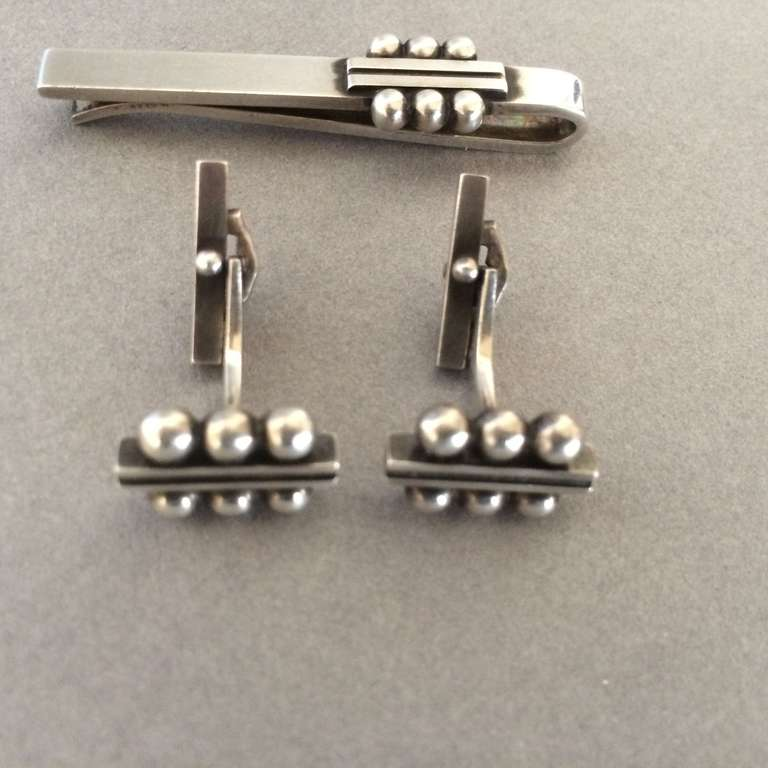 georg jensen cufflinks no 61b by harald nielsen at 1stdibs. Black Bedroom Furniture Sets. Home Design Ideas