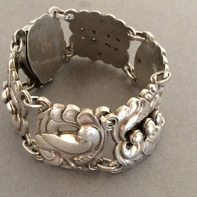 Georg Jensen Large Sterling Silver Dove Bracelet No 32 By