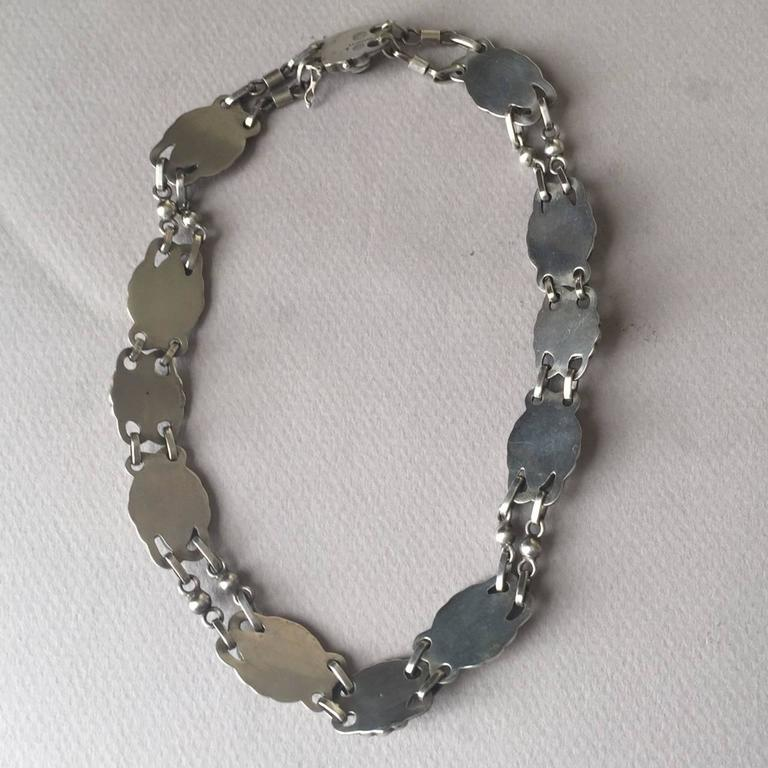 Women's Georg Jensen 830 Silver Necklace No. 1 with Green Chrysoprase For Sale
