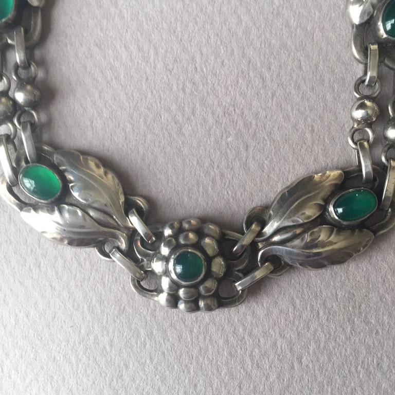 Art Nouveau Georg Jensen 830 Silver Necklace No. 1 with Green Chrysoprase For Sale