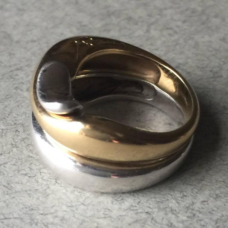 Georg Jensen Sterling Silver Gold Puzzle Ring by Minas Spiridis at