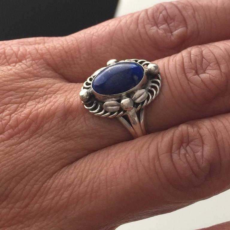Women's or Men's Georg Jensen 830 Lapis Lazuli Silver Ring No. 1 For Sale