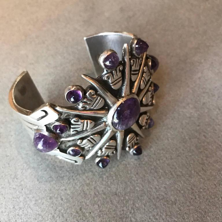 Native American William Spratling Amethyst Sterling Silver Aztec Sun Cuff Bracelet For Sale