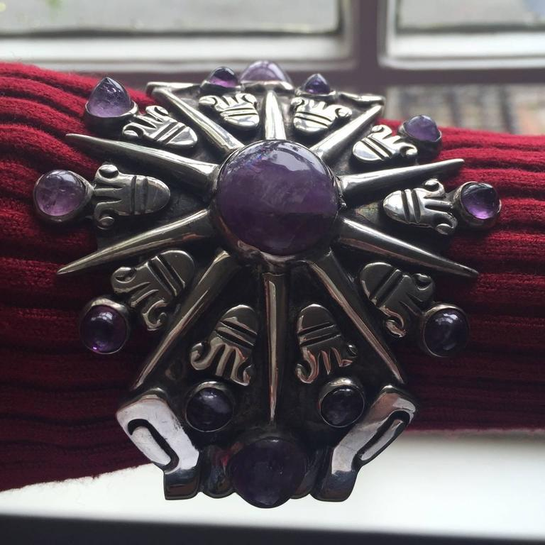 William Spratling Amethyst Sterling Silver Aztec Sun Cuff Bracelet For Sale 1