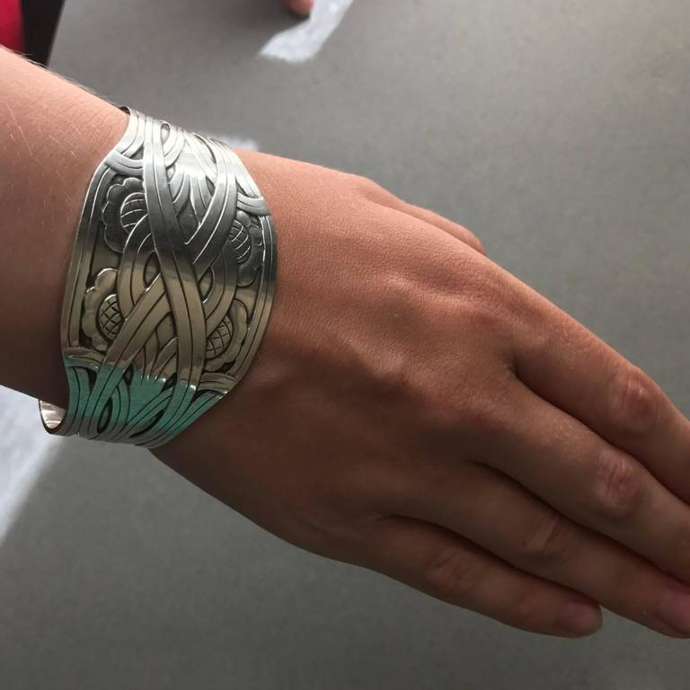 Harald Nielsen Sterling Silver Cuff Bracelet No. 55 In Excellent Condition For Sale In San Francisco, CA