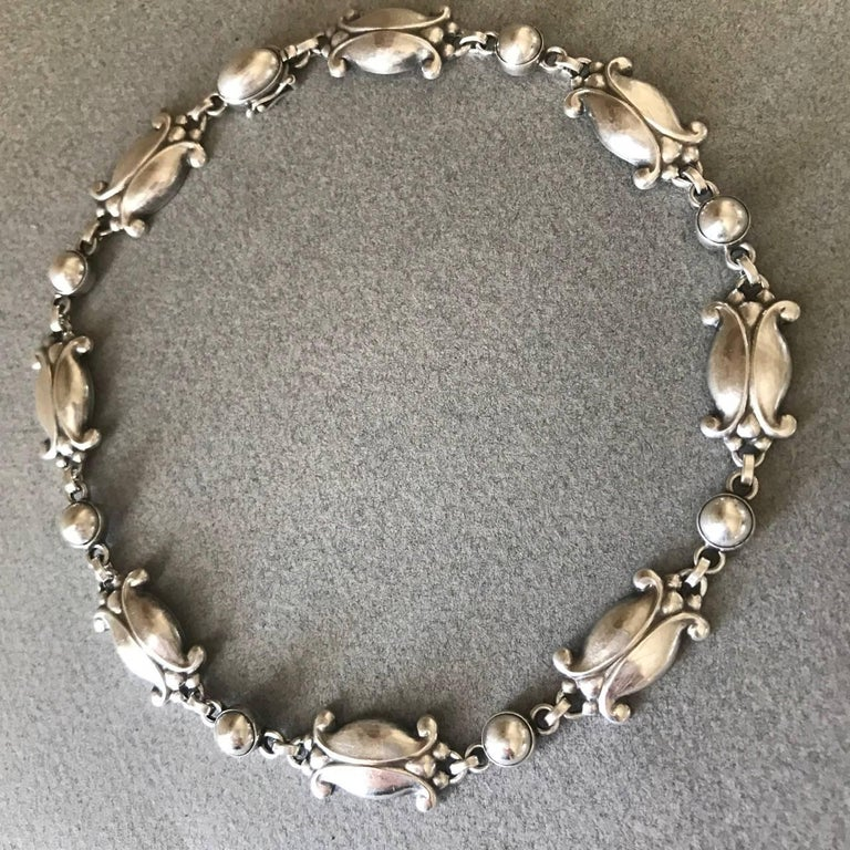 Georg Jensen Sterling SIlver Necklace, No. 15  This is a gorgeous example of a necklace that can be worn day or evening. Beautiful patina on the sterling silver. The links have visible hand hammering.  This design is in current production under the