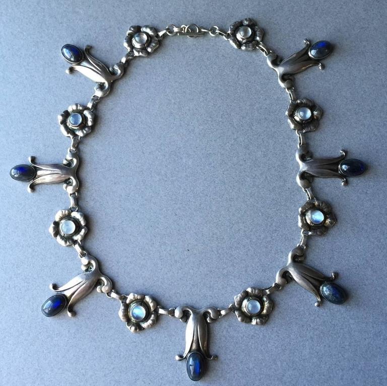 Georg Jensen Labradorite Moonstone Sterling Silver Necklace No. 7 For Sale 2