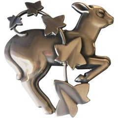Georg Jensen by Arno Malinowski Sterling Silver Lamb and Ivy Brooch No 311
