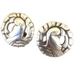 "Georg Jensen ""Bird"" Earrings by Kristian Mohl-Hansen, No. 66"