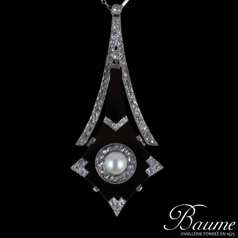 French Art Deco Fine Pearl Onyx Diamond Platinum Pendant For Sale 7
