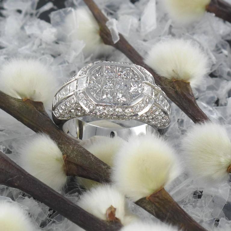 Princess Cut Modern Invisible Setting 2 Carats Princess and Brillant Cut Diamond Ring  For Sale