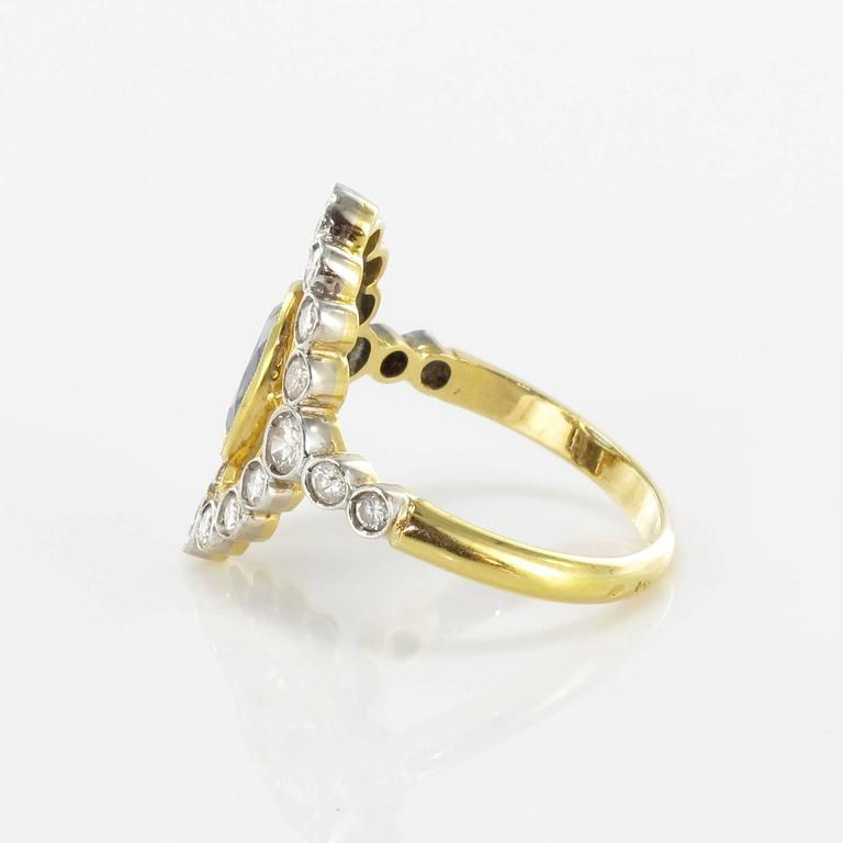 Women's Sapphire Diamond Gold Openwork Ring For Sale