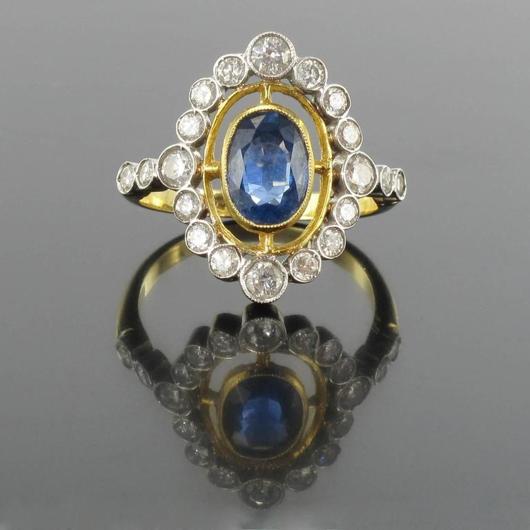 Marquise Cut Sapphire Diamond Gold Openwork Ring For Sale