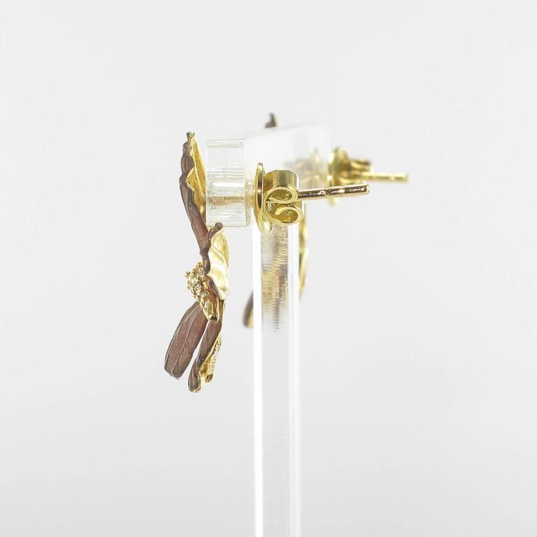 Rose Enamel Diamond Gold Butterfly Earrings For Sale 3