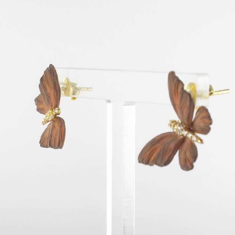 Rose Enamel Diamond Gold Butterfly Earrings For Sale 1