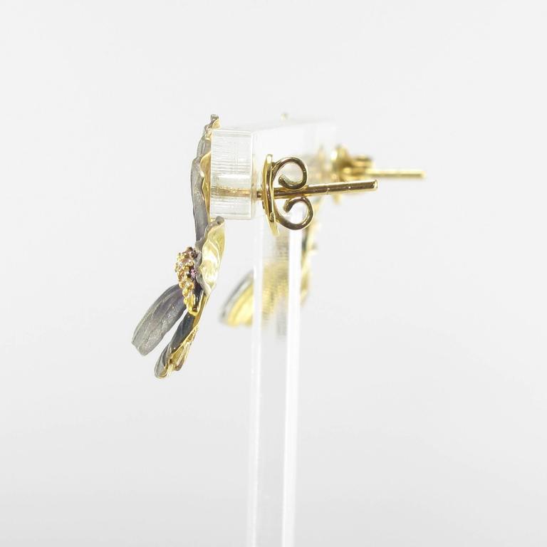 Art Nouveau Style Enamel Diamond Gold Butterfly Stud Earrings  For Sale 2