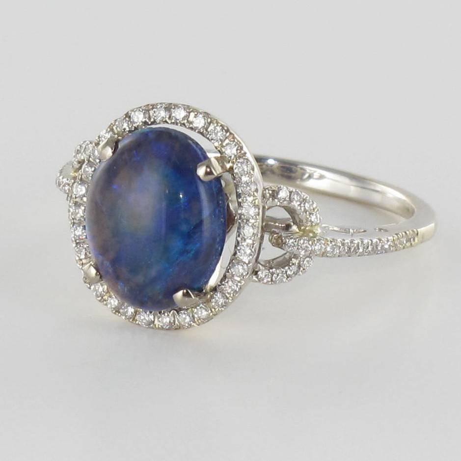Modern Black Opal Diamond Gold Ring For Sale at 1stdibs