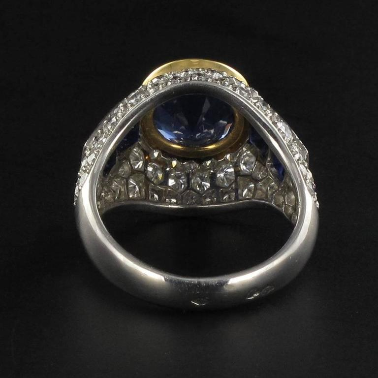 French Sapphire Diamond Platinum Ring For Sale 1
