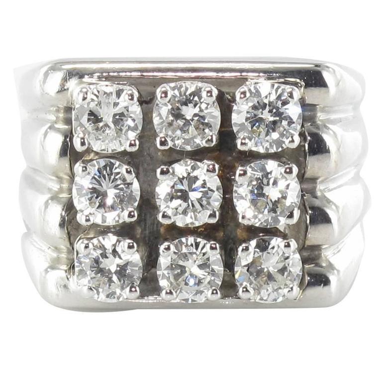 1950s Diamond Gold Signet Ring
