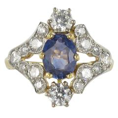 New Sapphire Diamond Gold Platinum Ring