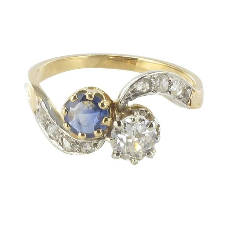 French Antique Sapphire Diamond Gold Engagement Ring at 1stdibs