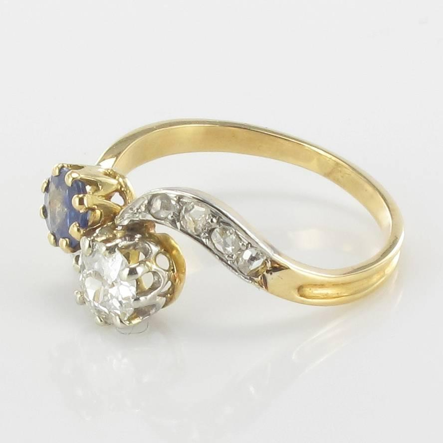French Antique Sapphire Diamond Gold Engagement Ring For Sale at 1stdibs