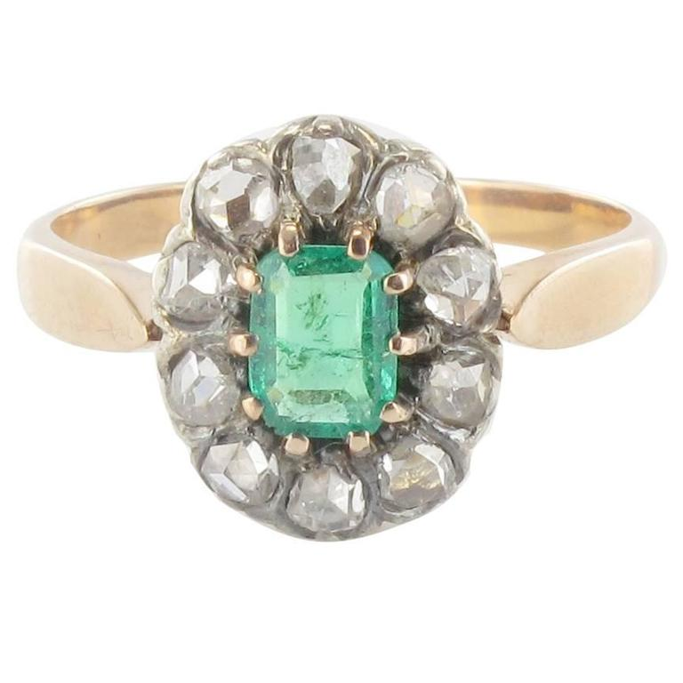 French Antique Emerald Diamond Gold Ring At 1stdibs