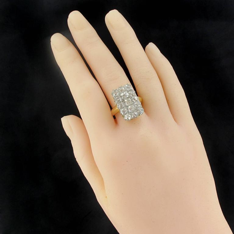 French Louis Philippe Antique Rectangular 5 Carat Diamond Ring For ...
