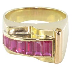 French Retro Calibrated Ruby Gold Tank Ring