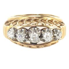 1950s Diamond Gold Platinum Dome Ring